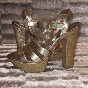 9M NW INTUITIVE Gold Glitter 5.5'' Chunky Heel